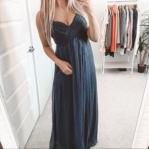 BHLDN Brigitte Bridesmaid Maxi Dress Navy Blue